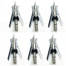 For Archery Official Broadheads Silvery 100 Grain 2 Blade Arrow Tips 6 Pcs FT