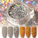 1 Box Charm Holographic Laser Nail Art Sequins Glitter Powder Tips Gold Silver