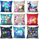 Cute Christmas LED lights Linen Pillow Cushion Cover Bed Sofa Case Home Decor