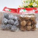 9PCS Christmas Gold Pine Cones Baubles Xmas Tree Decorations Ornament Decor FT