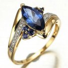 Size  6 7 8 9 Womens Blue Sapphire Gold Plated Engagement Wedding Rings Gift New