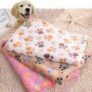 Pet Cat Dog Puppy Mat Small Paw Bone Print Cushion Fleece Soft Blanket Bed 1PC