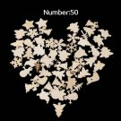 50Pcs/Bag Wooden Embellishment Christmas Tree Deer Snowflake Shapes Decor FT