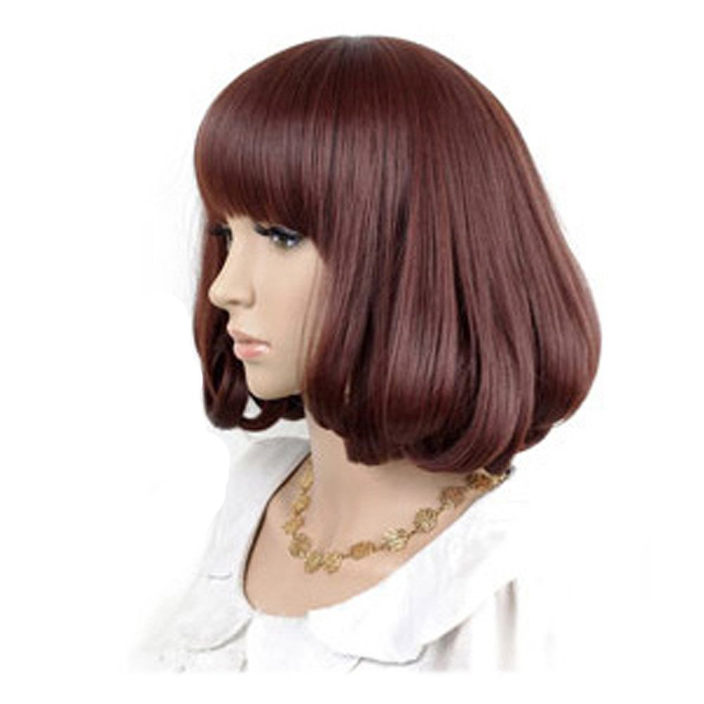 Cute High Quality Fashion Sweet Lady Wig Short Hair Natural Bob Caramel+Wig Cap+Comb