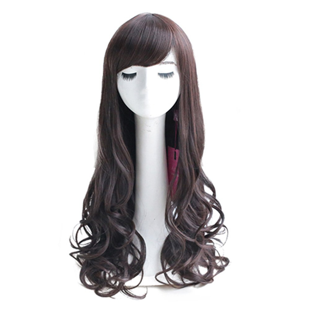 Curly Wavy Glamour Dark Brown Long Hair Wig Fashion Bob: Wig Cap: Wig Comb