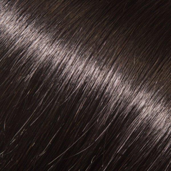 Donna Bella Milan 16 inche Full Head Human Clip-In # 1B: Jet Black: Darkest Brown: