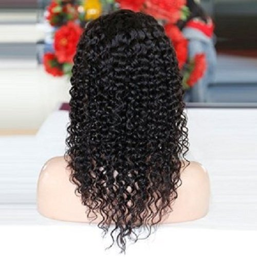 """100% Brazilian Virgin Kinky Curly Human Natural Black Color Middle Part Hair Lace Front Wig (12"""")"""