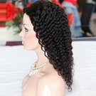 """100% Brazilian Virgin Kinky Curly Human Natural Black Color Middle Part Hair Lace Front Wig (16"""")"""