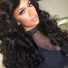 Brazilian Unprocessed Virgin Hair Natural Black Color Body Wave Lace Front Wig With Baby Hair 18""