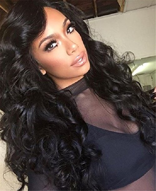 """Brazilian Unprocessed Virgin Hair Natural Black Color Body Wave Lace Front Wig With Baby Hair 24"""""""