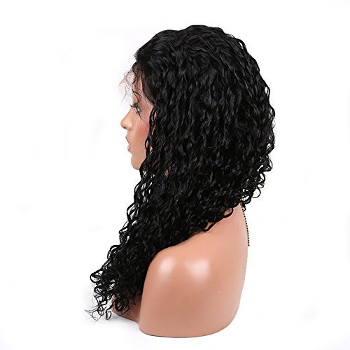Cute 1# Color Small Curl Brazilian Human Virgin Hair Lace Front Wig 14 inch