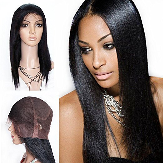 7A Brazilian Virgin Human Handmade Human Hair Full Lace Wigs Straight Color #1 16 inch
