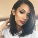 100% Brazilian Silk Straight Human Hair Lace Front Wig Bob Style with Baby Hair 12 inch
