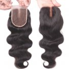 Unprocessed Brazilian Human Hair Body Wave Top Closure Lace Bleached Knots with Baby Hair 10""