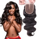 Unprocessed Brazilian Human Hair Body Wave Top Closure Lace Bleached Knots with Baby Hair 16""