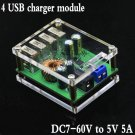 4 USB DC charger module step down module with case for phone car