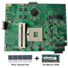 For Asus K52JC REV 2.0 motherboard HM55 with thermal Pad and 2GB DDR3 memory RAM
