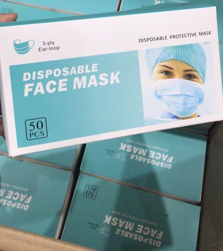 50 pieces Disposable 3-Layer Protection Face Masks Earloop Anti-Dust Mouth Face Mask