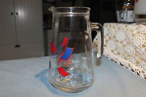 Vintage glass pitcher Covetro Italy red and blue lounge chairs