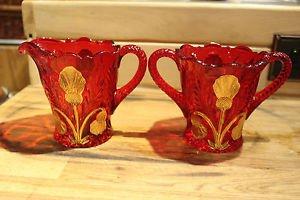 Mosser Glass Thistle Sugar Bowl and Creamer Set Ruby Red & 24K Gold Leaf