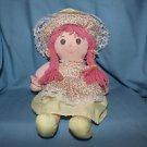 """Vintage Dolly Mine 16"""" yellow doll yarn hair cloth body bonnet dress"""