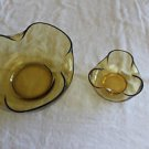 Vintage Anchor Hocking Pinch shape chip and dip Amber gold 2 bowl set.