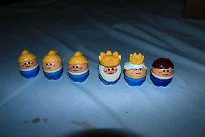 Vintage Little Tikes little people king, queen 3 girls 1 boy Square hole bottom.