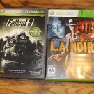 Xbox 360 games. L.A. Noire and Fallout 3. Complete