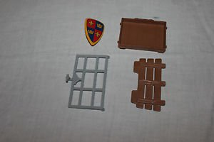 Playmobil Knights, Viking prisoner cage door, floor, panel, shield. Set 3674