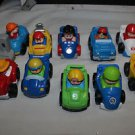10 Fisher Price Little People wheelies: cars, tractor, forklift, jeep, race cars