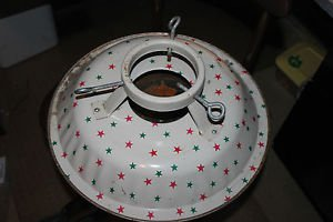 Vintage metal Christmas tree stand white w red & green stars