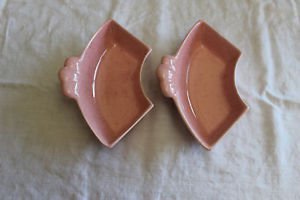 Vintage J-31 California Pottery Lazy Susan pink speckled ceramic dishes. 2.