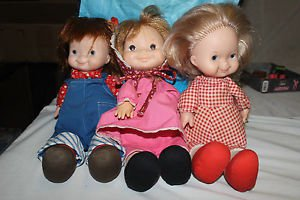 Vintage Fisher Price Lapsitter dolls. Natalie, Mary and Audrey.