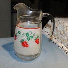 Vintage glass pitcher Teleflora France 1983. Strawberries frosted glass