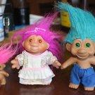 3 Vintage Troll dolls. 1986, 1991 curlers woman man child, clothing Russ DAM TNT