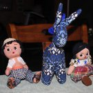 Vintage Guatemalan hand made dolls (1976) and donkey. Authentic clothing.