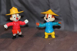 Chip and Dale Epcot figurines. Mounty and Chip with hat. Movable arms hips head