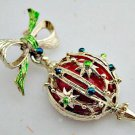 Christmas Vintage Brooch Signed Gerry's - Christmas Ornament Dangling off Bow Holiday Jewelry