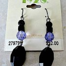 1928 Jewelry Black and Tanzanite Dangle Pierced Earrings