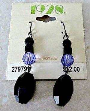 1928 Jewelry Black and Tanzanite Dangle Pierced Earrings