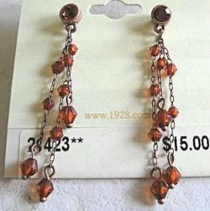 1928 Jewelry Topaz Bead and Chain Dangle Post Style Pierced Earrings