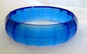Blue Plastic Bangle Bracelet - 1980's Vintage Jewelry