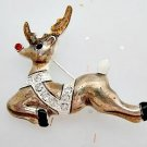 Rudolph Reindeer Christmas Pin Brooch Holiday Jewelry