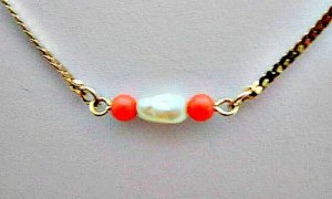 Bawa Pearl and Coral Vintage Avon Necklace