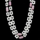 Mod Geometric White and Pink 1960s Vintage Necklace