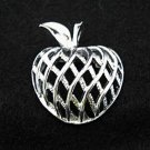 Silvertone Apple Vintage Pin Brooch - Signed Gerrys