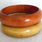 Wood Bangle Bracelets Set of 2 - 1980's Vintage Jewelry