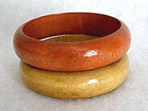 Wood Bangle Bracelets Set of 2 - 1980's Vintage Jewelry