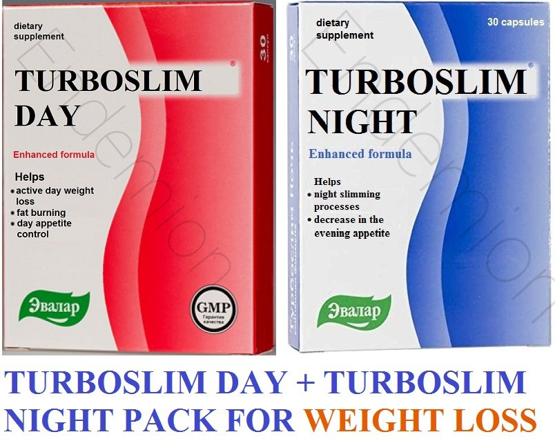 Evalar Turboslim Day 30 Capsules + Turboslim Night 30 Capsules for Weight Loss