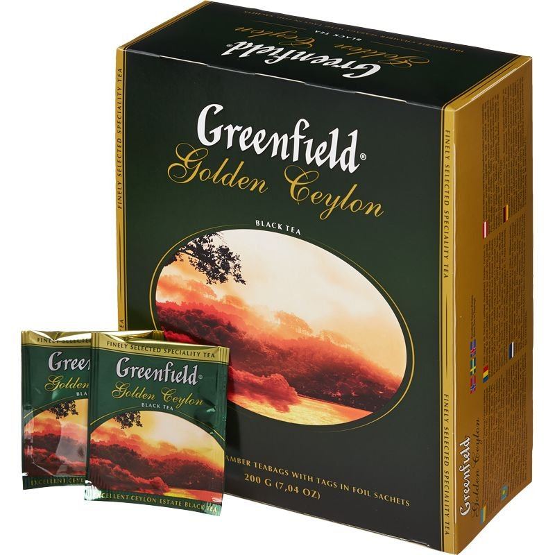 Greenfield Golden Ceylon Black Leaf Tea 100 Tea Bags in Box 200g / 7,04 Oz